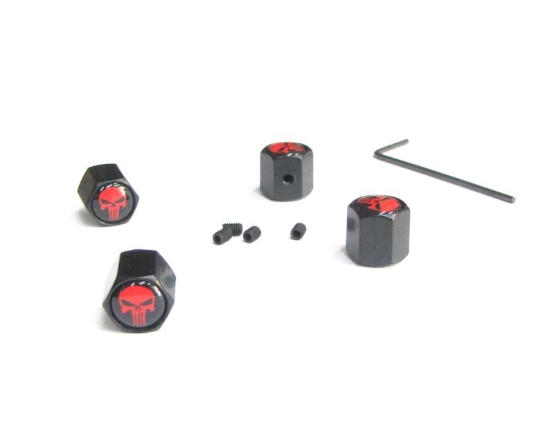 Ventilkappen Set / SKULL red / schwarz