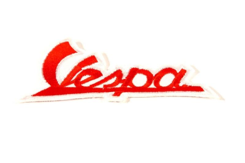 Aufnäher Schriftzug   Vespa   in rot - weis