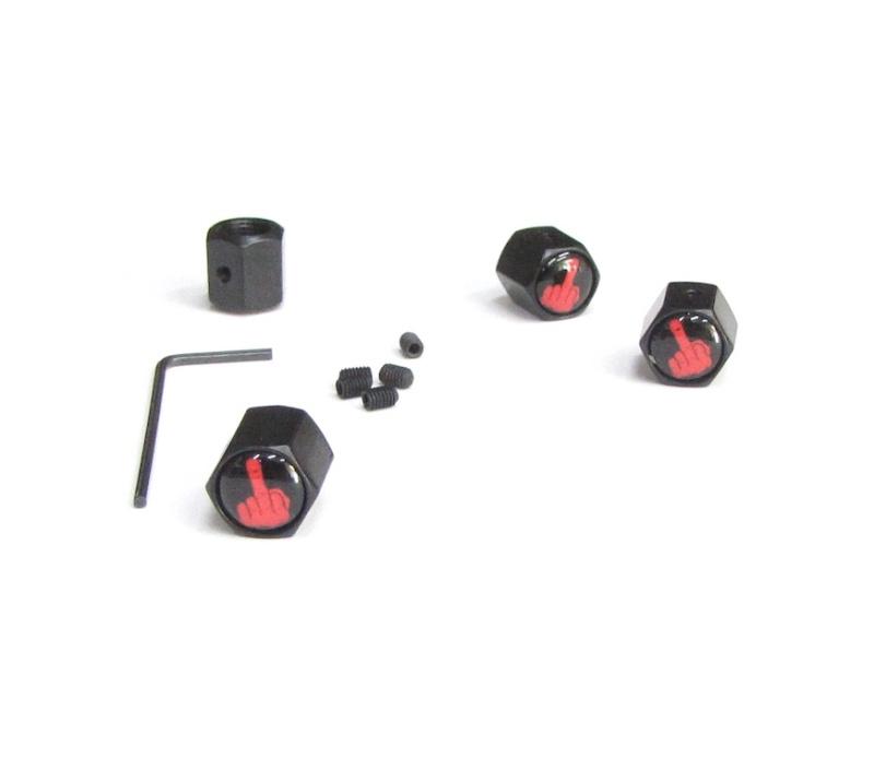 Ventilkappen Set / FUCK OFF red / schwarz