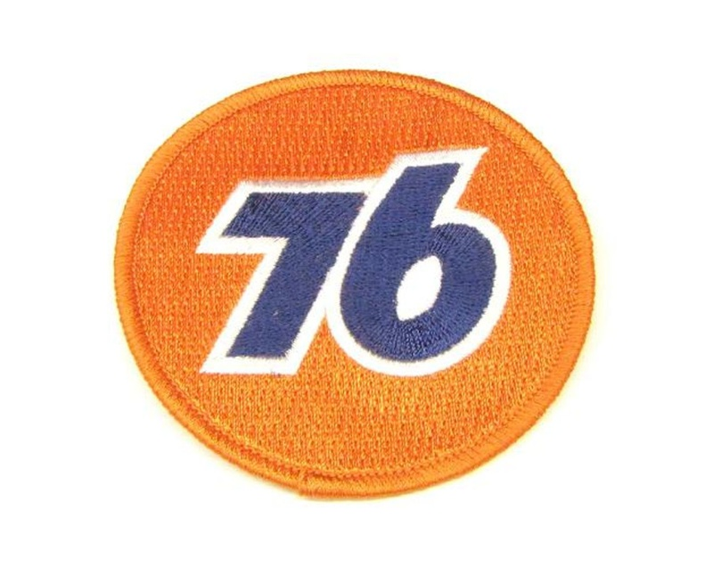 Aufnäher  76  rund / 75mm gestickt / orange