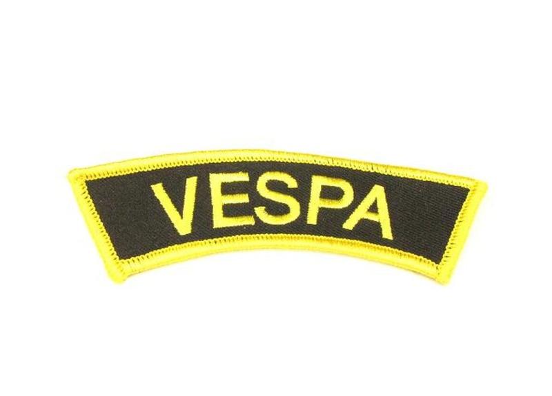 Aufnäher Schriftzug  Vespa  für den Ärmel / halb rund